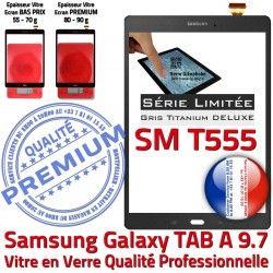 Tactile Ecran Verre Gris Grise TITANIUM T555 SM Galaxy PREMIUM 9.7 Adhésif Samsung SM-T555 Vitre Prémonté Assemblée Anthracite Qualité TAB-A