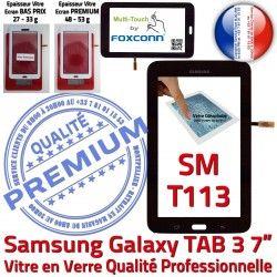 Ecran T113 Adhésif LITE Qualité LCD PREMIUM Noire Tab3 SM Samsung Assemblée Vitre SM-T113 Verre Supérieure Tactile Galaxy Prémonté Noir en TAB3