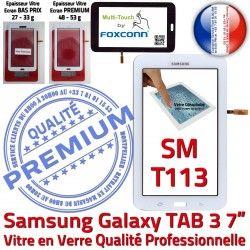 Verre T113 Adhésif Prémonté Ecran Tactile LCD Vitre SM-T113 Galaxy LITE Supérieure Samsung Blanche en Blanc Qualité TAB3 Assemblée SM PREMIUM