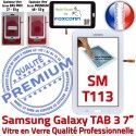 TAB3 LITE SM T113 Blanche Tactile LCD Qualité SM-T113 Galaxy Prémonté Adhésif en Verre Assemblée Blanc Vitre Supérieure Ecran PREMIUM Samsung
