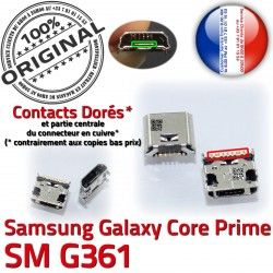 Prime Micro Pins souder Dock USB Qualité SM-G361 Core MicroUSB Samsung Galaxy ORIGINAL Prise G361 Connector SM Dorés charge Fiche Chargeur de à