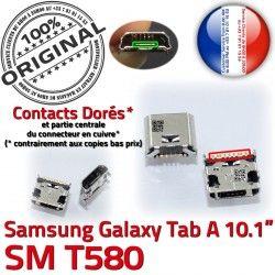 Samsung Connector Prise Dock Connecteur souder Galaxy USB Pins T580 charge inch à SM ORIGINAL Chargeur Dorés de 10.1 A Micro TAB Tab