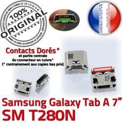 Pins à Dock Prise ORIGINAL MicroUSB Fiche de SLOT Chargeur Qualité Connector Dorés souder Tab-A TAB-A SM-T280N charge USB Samsung Galaxy