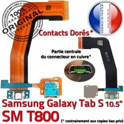 TAB-S SD Nappe TAB Prise Galaxy Qualité Lecteur Micro Chargeur ORIGINAL de Ch Doré Mémoire SM-T800 Charge S Connecteur USB Samsung Port