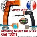 SM-T801 Micro USB TAB-S Charge Contacts Qualité S TAB Samsung ORIGINAL T801 Nappe Lecteur SM Connecteur Dorés Chargeur Galaxy de SD Réparation