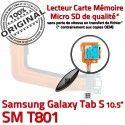 SM-T801 Micro USB TAB-S Charge Samsung ORIGINAL Nappe de Connecteur T801 TAB Chargeur Contacts Galaxy S SM Dorés Lecteur Qualité SD Réparation
