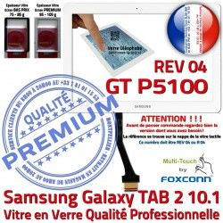 Vitre PREMIUM GT REV Verre Galaxy R Assemblée TAB2 en 2 LCD Qualité 10.1 B Adhésif Ecran GT-P5100 P5100 Blanche Prémonté Tactile Samsung 04 TAB