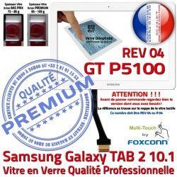 TAB-2 Adhésif Samsung 10.1 Assemblée R04 B Galaxy Verre P5100 Qualité PREMIUM REV Prémonté en Vitre LCD GT Blanc Ecran Tactile