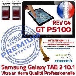 N Verre REV TAB-2 10.1 Supérieure GT Ecran en PREMIUM Adhésif LCD Samsung Prémonté Galaxy Tactile P5100 Vitre R04 Noir Qualité