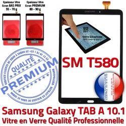 inch Verre Tactile A Résistante Vitre 10.1 TAB-A Ecran Samsung N Chocs Galaxy SM-T580 Supérieure aux Qualité en Noire Noir TAB PREMIUM