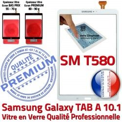 Ecran SM TAB-A aux TAB B Verre T580 Vitre Résistante Supérieure Blanche Blanc Qualité en Galaxy PREMIUM Tactile SM-T580 Samsung Chocs A 10.1