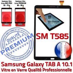 TAB aux inch Chocs Verre Noir Résistante Tactile Qualité Samsung Vitre Supérieure Galaxy Noire en N SM-T585 PREMIUM A TAB-A Ecran 10.1