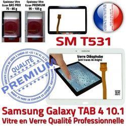 Supérieure Vitre PREMIUM Écran Tactile Complète Complet Samsung Verre TAB4 Galaxy SM-T531 Prémonté Blanc Tab4 Blanche Qualité Adhésif