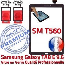 Qualité Samsung TAB-E Galaxy Ecran SM-T560 T560 Vitre 9.6 Noire Adhésif Assemblée Tactile SM Assemblé PREMIUM Verre Supérieure Noir