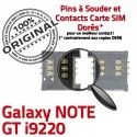Samsung Galaxy Note GT i9220 S à Lecteur Pins Connecteur Reader Dorés Contacts Card SIM Carte souder SLOT Connector ORIGINAL