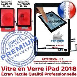 Tactile HOME Verre Ecran Noir Adhésif Nappe Bouton iPad Tablette Fixation 9.7 Caméra Monté Qualité 2018 Oléophobe 6 Réparation Vitre inch