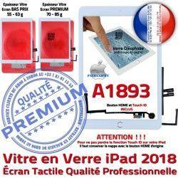Ecran Vitre Tablette HOME Fixation Tactile iPad IC Oléophobe Blanc Réparation AIR Verre Adhésif A1893 Caméra Qualité Nappe Monté