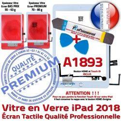 iPad KIT B PREMIUM A1893 Tactile Bouton HOME Réparation Blanche Verre Vitre Nappe AIR Qualité Oléophobe Precollé Adhésif PACK Outils