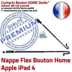 Bouton Nappe Apple Home Accueil Flex Tablette Precollé Adhésif Châssis Remplacement 4 iPad Poussoir Autocollant Réparation