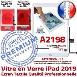 Fixation Réparation Caméra Vitre iPad Qualité HOME Verre Tablette Blanc Adhésif Nappe A2198 2019 Ecran Oléophobe Monté Tactile
