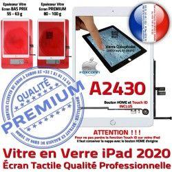 Blanc Réparation Monté Adhésif Ecran Oléophobe Caméra Qualité Fixation Vitre Tablette 2020 A2430 iPad Nappe Tactile Verre HOME