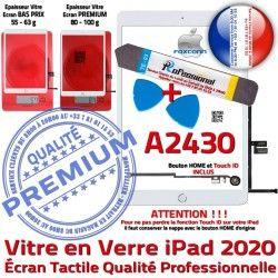 Verre Vitre A2430 Nappe iPad Precollé Qualité PACK Blanche HOME 2020 KIT Réparation B Tactile Adhésif Bouton PREMIUM Oléophobe Outils