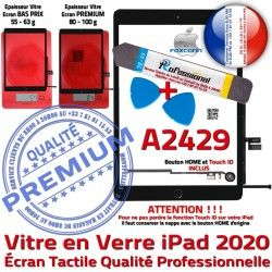 Réparation PACK Démontage Vitre Noire Oléophobe iPad Precollé KIT Verre HOME Tactile PREMIUM Adhésif Bouton Qualité A2429 N 2020 Outils