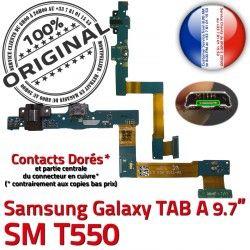 Doré Qualité Contact SM-T550 SM A USB ORIGINAL Chargeur MicroUSB OFFICIELLE de Réparation Connecteur Charge Galaxy Samsung Nappe Micro T550 TAB
