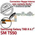 SM-T550 TAB A Micro USB Charge Doré Contact Chargeur T550 Nappe Réparation Galaxy ORIGINAL SM Connecteur Qualité Samsung MicroUSB OFFICIELLE de
