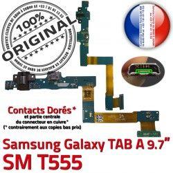 SM-T555 Samsung Chargeur Nappe OFFICIELLE TAB Charge C Qualité Connecteur SM de Réparation T555 Contacts Micro USB ORIGINAL Doré A Galaxy