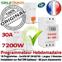 DIN Programmation électrique Rail Arrosage Electronique 7kW 7200W 30A Digital Tableau Minuterie Journalière Automatique