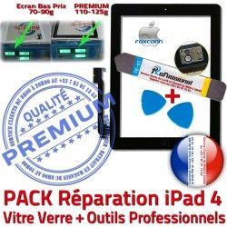 iPad4 A1460 Tactile Qualité Verre HOME Réparation KIT Bouton Oléophobe Tablette iPad 4 Precollé PREMIUM Outils A1459 A1458 Adhésif Noire N Démontage Vitre PACK