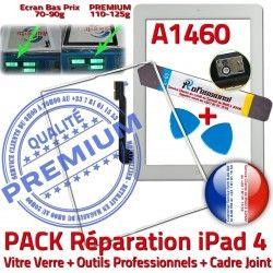 iPad PACK Cadre B Adhésif Tactile PREMIUM iLAME Bouton 4 A1460 Precollé Tablette Verre Réparation HOME Vitre Apple iPad4 Joint Blanche Outils