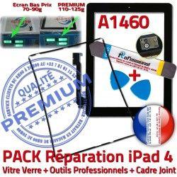 KIT Precollé Cadre A1460 PACK Réparation Tactile 4 iLAME Bouton iPad Verre HOME Chassis Outils Tablette Joint Vitre iPad4 N Apple Noire Adhésif
