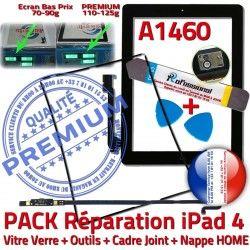 Tablette Nappe Bouton KIT Noire HOME Precollé Apple Cadre Joint Réparation N iPad4 Verre A1460 Adhésif Tactile iLAME PACK Outils Vitre