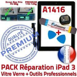 Oléophobe Tactile HOME KIT PREMIUM Adhésif Qualité Démontage iPad3 A1416 iPad Réparation Outils Precollé Verre Bouton 3 PACK Noire Vitre N