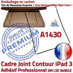 iPad Noir Apple Ecran Contour Vitre Tablette Châssis Autocollant Adhésif A1430 Tactile Plastique Precollé Joint 3 Cadre N Réparation