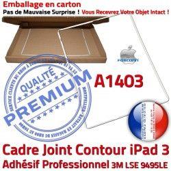 Cadre Adhésif Vitre Joint A1403 Contour Réparation Châssis Tactile Autocollant B iPad Ecran Apple Tablette 3 Plastique ABS Blanc