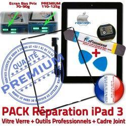 HOME iPad3 iLAME PACK 3 N Precollé Tactile Cadre Chassis Noire Outils PREMIUM KIT Tablette Réparation Joint Verre Bouton Adhésif Apple iPad Vitre