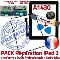 KIT iLAME Noire PACK Tactile Adhésif Cadre Chassis Tablette Joint HOME Precollé Outils Bouton Vitre A1430 N Apple 3 Verre Réparation iPad iPad3