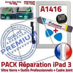 Verre Blanche Outils Joint HOME Precollé Tactile B 3 PACK iLAME Tablette Cadre Bouton Vitre A1416 Adhésif iPad3 PREMIUM Réparation Apple iPad