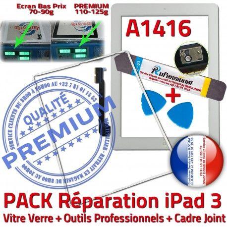 PACK iPad 3 A1416 iLAME Joint B Precollé PREMIUM Adhésif Tactile Verre iPad3 Réparation Tablette Apple Cadre Vitre Blanche Outils HOME Bouton