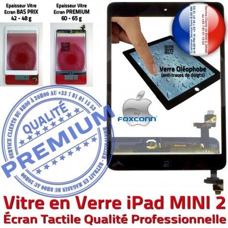 iPad Mini2 A1489 A1490 A1491 N Adhésif MINI Tactile Tablette Filtre Verre Caméra Fixation Monté 2 Nappe Vitre Noir Réparation Ecran Home Bouton Oléophobe
