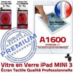 A1600 Tablette Monté Verre Nappe Réparation Vitre Tactile Filtre iPad Blanc Mini3 Home Ecran Bouton Caméra Oléophobe Adhésif Fixation
