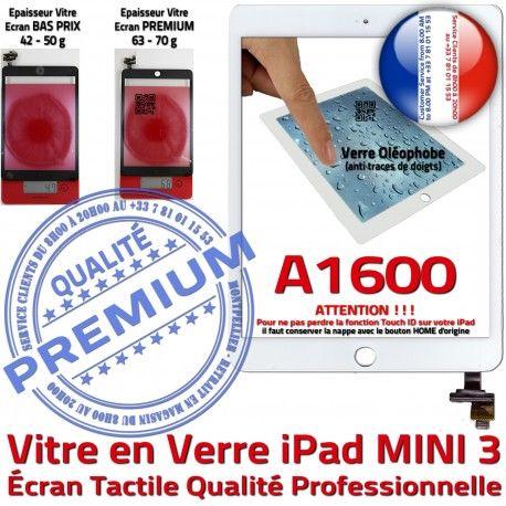 Mini3 iPad A1600 Blanc Tablette Oléophobe Filtre Réparation Fixation Caméra Nappe Bouton Verre Monté Ecran Home Adhésif Vitre Tactile