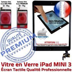 iPad Adhésif Ecran Filtre Noir Mini3 MINI Home Fixation Vitre Monté Caméra Nappe Verre 3 Bouton A1600 Réparation A1599 Tactile Tablette Oléophobe