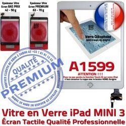 Verre iPad Fixation Filtre Tablette Bouton Adhésif Blanc Mini3 Tactile Oléophobe Réparation PREMIUM Caméra Ecran A1599 Vitre Nappe