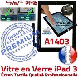 Caméra Bouton Verre HOME Vitre Fixation PREMIUM Ecran Noir Tactile Oléophobe Precollé Qualité Remplacement Adhésif A1403 Apple iPad 3 iPad3