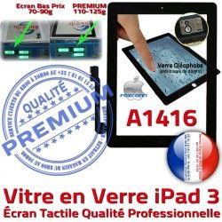 3 Oléophobe Verre Precollé HOME PREMIUM Adhésif Tactile Fixation Qualité Bouton Noir Apple Remplacement iPad Ecran Vitre A1416 Caméra iPad3