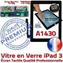 iPad3 Apple A1430 Noir Vitre 3 Fixation Tactile iPad Oléophobe Adhésif Verre PREMIUM HOME Caméra Precollé Bouton Ecran Qualité Remplacement